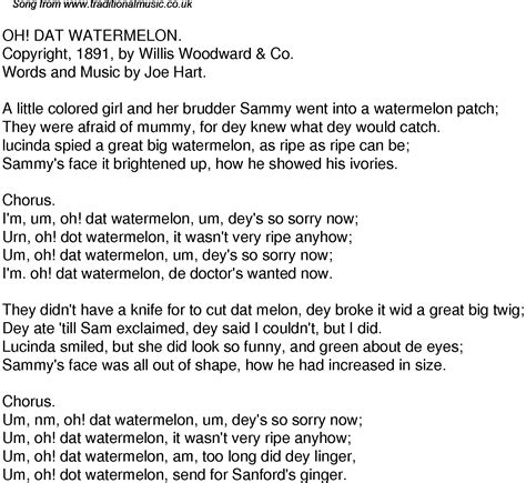 Old Time Song Lyrics for 35 Oh Dat Watermelon