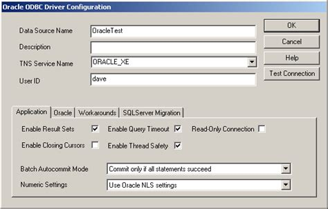 Setting Up an ODBC Data Source for Oracle