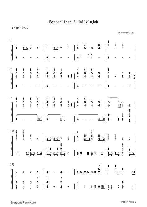 Better Than a Hallelujah Numbered Musical Notation Preview
