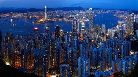 Victoria Harbour And The City Of Hong Kong China As Seen