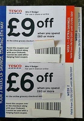 Tesco Clubcard Money Off Vouchers Coupons £21 Off • £10