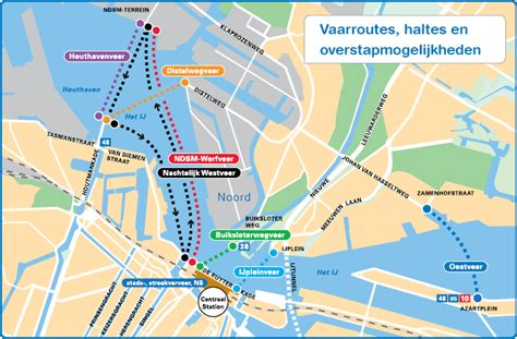 Map of Amsterdam ferry: stations & lines