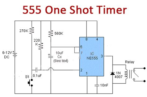 555 One-Shot Timer with Relay at Output