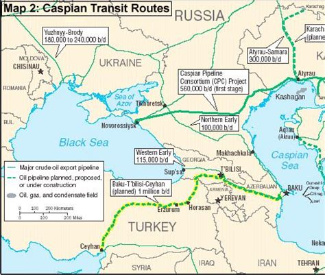Map of Caspian transit routes for oil