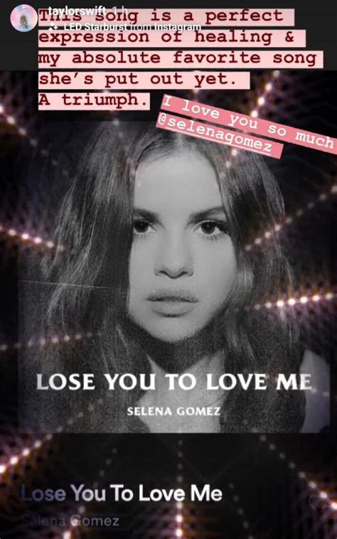 Taylor Swift gushes over Selena Gomez's Lose You To Love