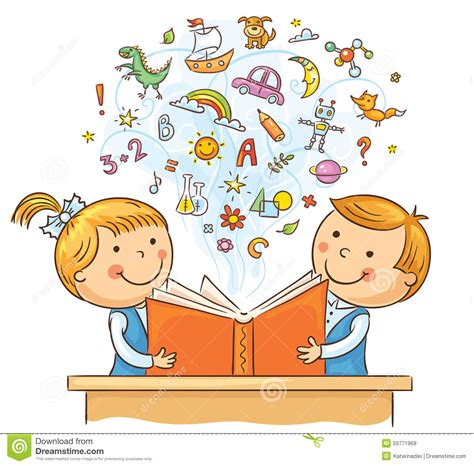 Children Reading A Book Together Stock Vector - Image