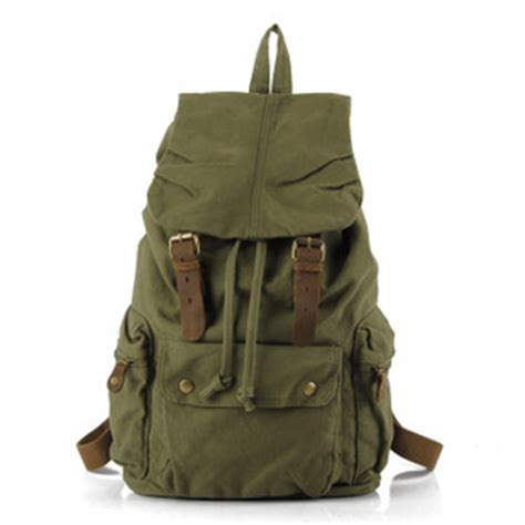 Military green canvas scout field backpack unisex