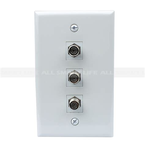 New easy installation 3 Port Coax Cable TV F Type Wall Plate